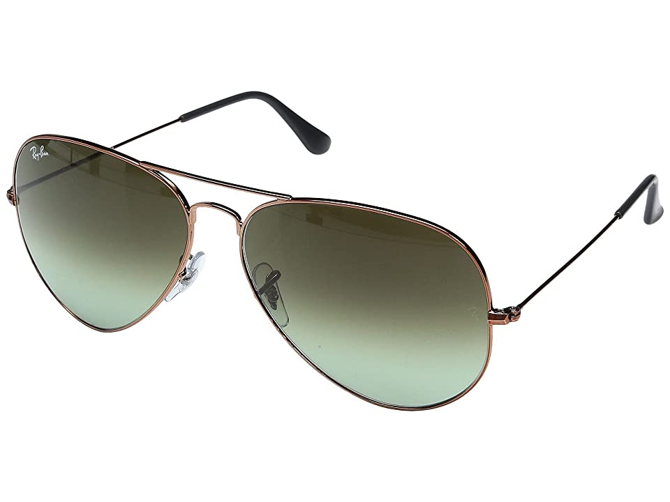 Ray-Ban 3026 Aviator 62mm (Shiny Medium Bronze/Green Gradient Brown) Sport Sunglasses