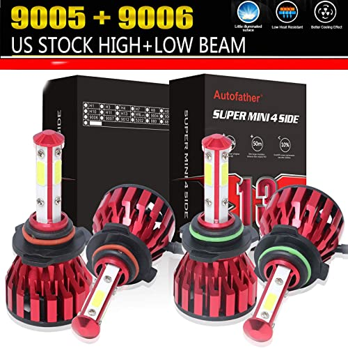 lowest 9005 HB3 9006 HB4 sale LED Headlight Bulbs Combo kit for Chevrolet Silverado 1500/GMC/Chevy popular Tahoe/Dodge/Chrysler/Ford 4-Side Chips 24000LM High Power Car Headlamp 6000K outlet online sale