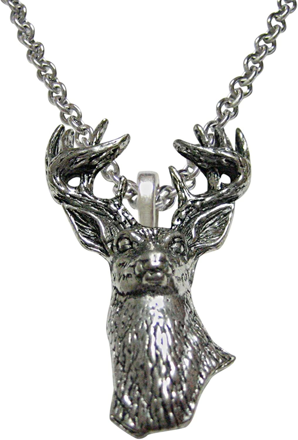 Kiola Designs White Tailed Stag Deer Head Pendant Necklace