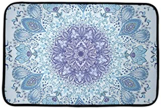 DHH166 Memory Foam Toilet Bath Rug, Psychedelic Peacock Mandala Non-Slip Comfort Standing Mat for Living Room BedroomK Office, Quick Dry Entrance Rug - 16 x 24 inches