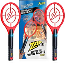 ZAP IT! Mini Twin Pack Bug Zapper - Rechargeable Mosquito, Fly Killer and Bug Zapper Racket - 4,000 Volt - USB Charging, Super-Bright LED Light to Zap in The Dark - Safe to Touch (Red)