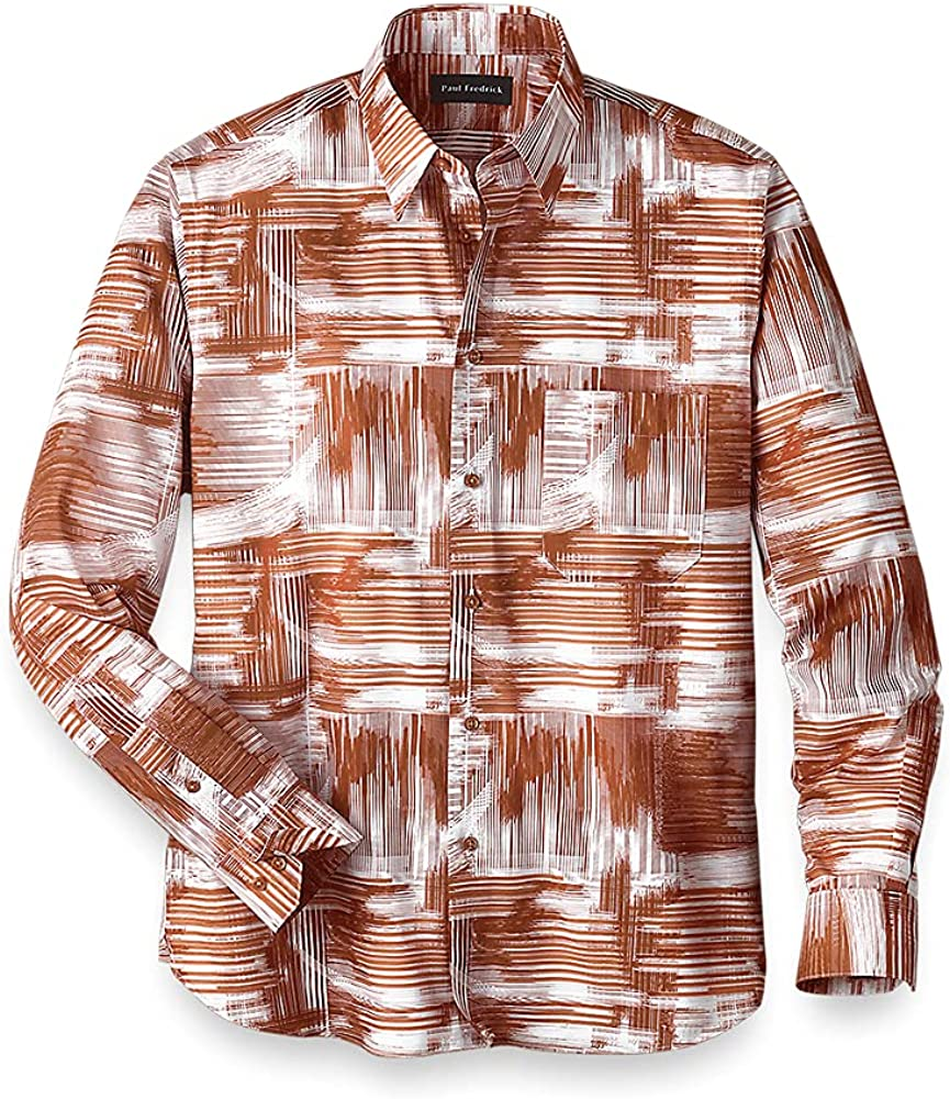 Paul Fredrick Men's Easy Care Cotton Abstract Casual Shirt, Rust