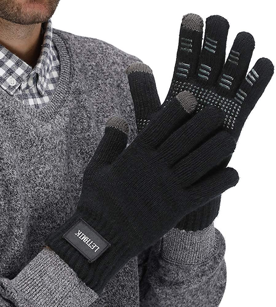 LETHMIK Mens Non-Slip Winter Gloves,Touchscreen Thick Knit Texting Gloves with Warm Wool Lining