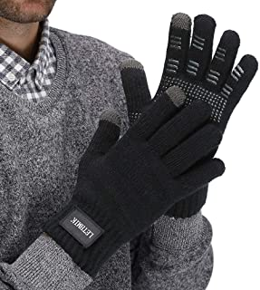 Mens Non-Slip Winter Gloves,Touchscreen Thick Knit Texting Gloves with Warm Wool Lining
