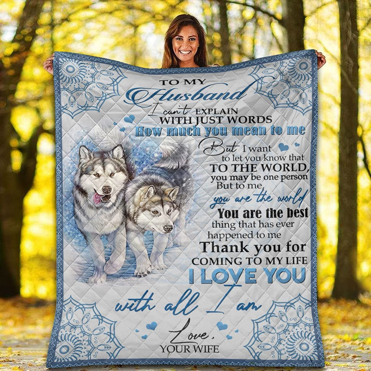 Couple Wolf Mandala Quilt - to The My are You mart Husband Be Super Special SALE held