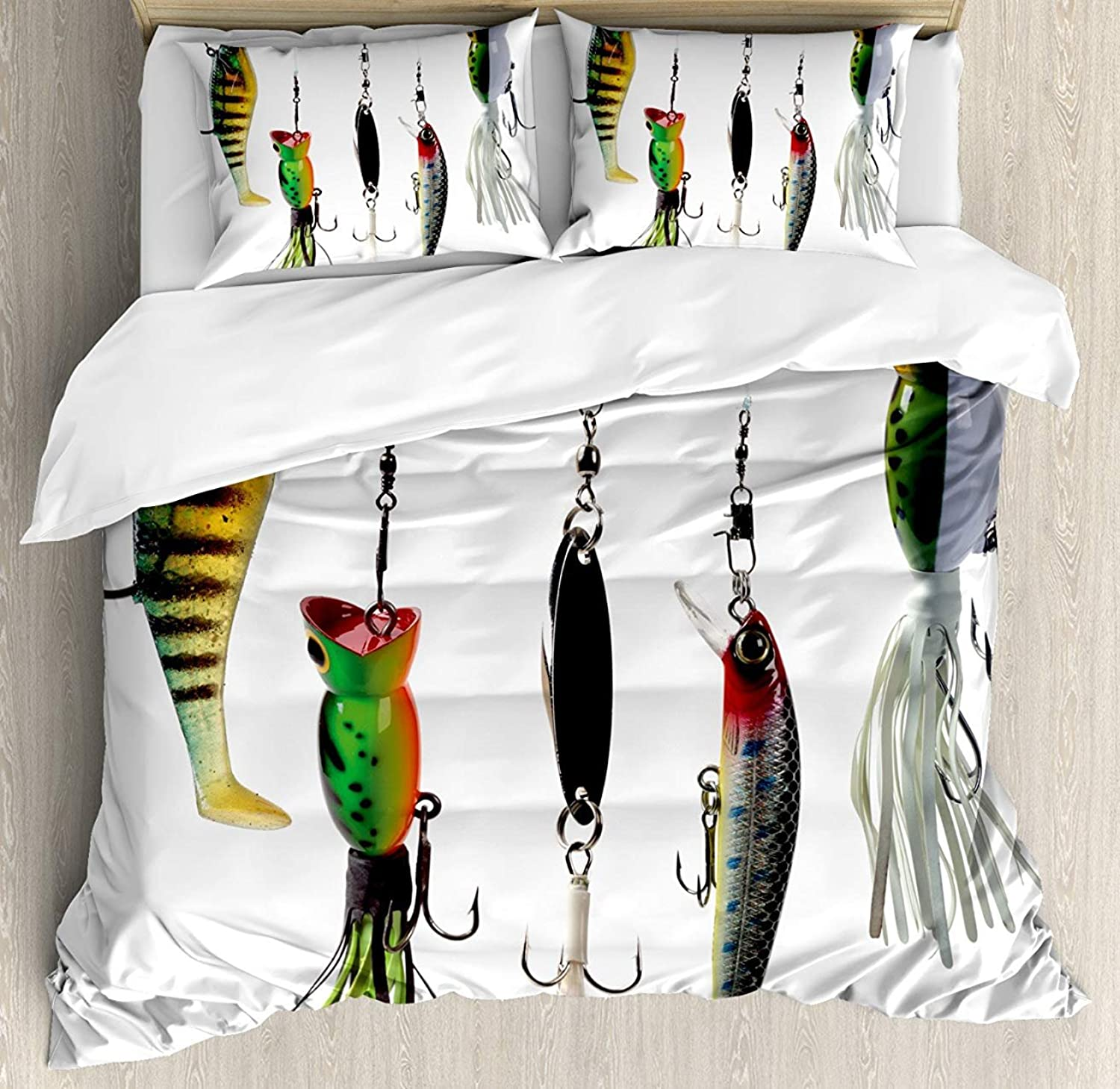 Z&L Home King Size Fishing Luxury Soft Duvet Cover Set, Various Type of Fishing Baits Hobby Leisure Passtime Sports Hooks Catch Elements, Decorative 4 Pieces Bedding Sets, Multicolor