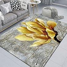 LHGBGBLN 3D Printing Carpet Golden Flowers Bedroom Living Room Non-Slip mat Corridor Floor mat Door mat Flower Carpet Home...