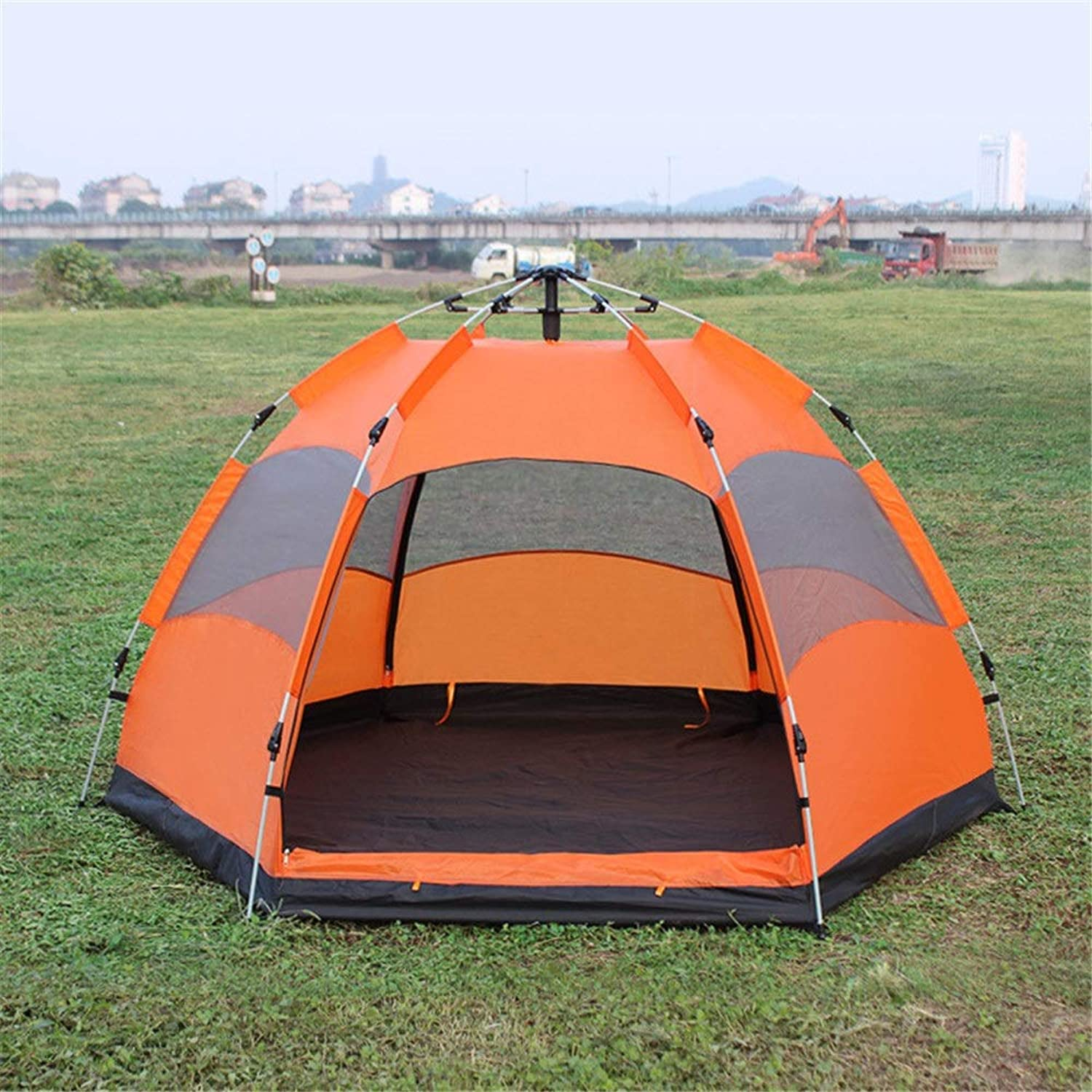 Outdoor Tent Double Layer Camping Tent Wild Camping Outdoor 35 Person Rainproof Tent Sunshade Rain Waterproof UV Predected (color   orange, Size   240cm240cm130cm)