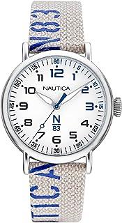 ساعة نوتيكا بسوار قماشي للرجال، ابيض، 20 كاجوال موديل NAPLSS014