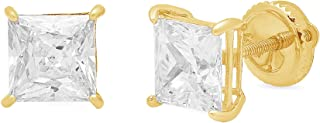 1.0 ct Brilliant Princess Cut Solitaire Highest Quality Moissanite Anniversary gift Stud Earrings Real Solid 14k Yellow Gold Screw Back