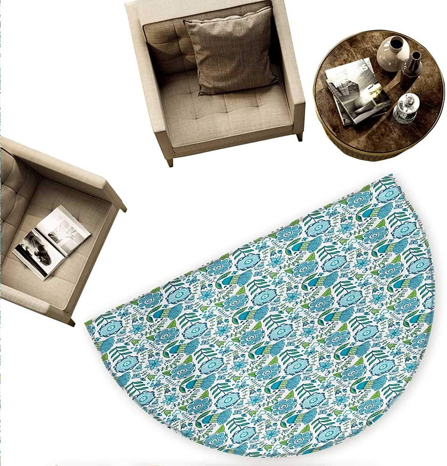 bluee and Green Semicircular Cushion Doodle Illustration of Nature Flower Butterflies and Dragonflies Entry Door Mat H 55.1  xD 82.6  bluee Apple Green White
