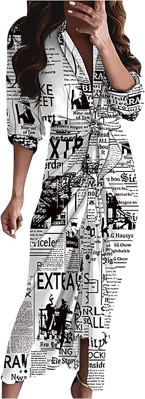 Womens Boho Printing Shirt Dress Casual Long Sleeve Dress Autumn Cardigan Cover Up Long Maxi Dress