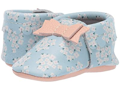 Freshly Picked Soft Sole Bow Moccasins High Tea (Infant/Toddler) (Blue Ditzy) Girls Shoes