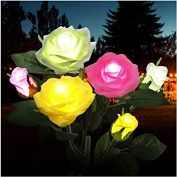 Solar Power Outdoor Garden Patio Security Light 3 LEDs Rose Flower Lamp 4 Colors