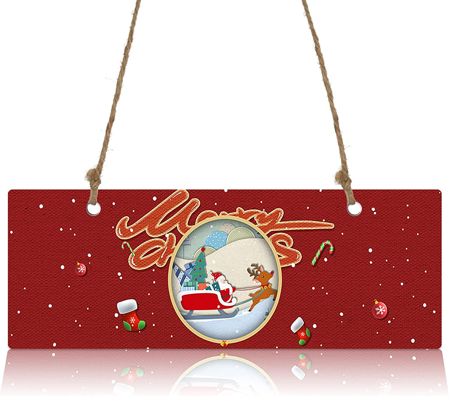 Wall Sign Wood Plaque Happy Christmas Price reduction with Super intense SALE Claus Sled Santa E on