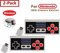 Cleantt 2Pcs NES Controller Wireless for Nintendo Classic Edition Mini,Zero Delay A+B Rapid Buttons, Plug and Play NES Controller