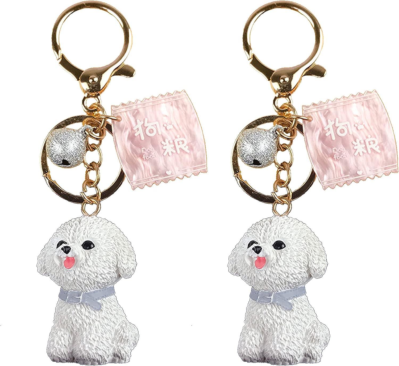 2 Pcs Cute Dog Keychain Keyring, Puppy Key Chain Ring For Kid Girl Women Car