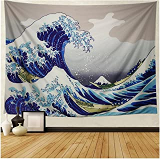 Maccyafst Mountain Ocean Wave Tapestry The Great Wave Off Kanagawa Wall Hanging Tapestries Ukiyo-e Print Japanese Art Tapestry for Living Room Bedroom Dorm Decor (51.2