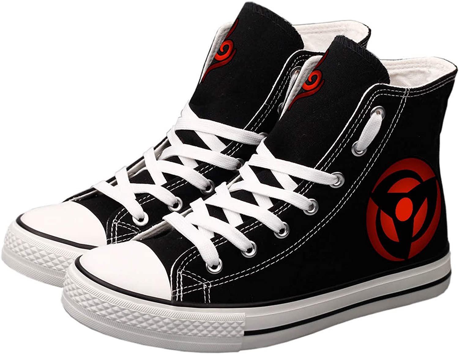 Antetok Naruto Canvas shoes Hand-Painted Canvas shoes Casual Cosplay High Top Sneakers Unisex Designs Black