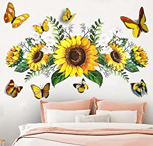 Sunflower Wall Stickers with 3D Butterfly Wall Sticker, Yellow Flowers Wall Decal,Waterproof and Removable, Sunflower 3D Butterfly Wall Stickers,Wall Stickers for Bedroom Living Room Bathroom Decor