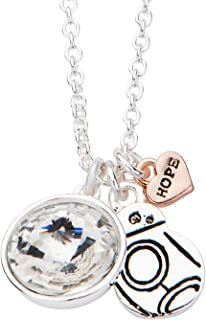 Women's Silver Plated Episode 7 BB-8 with Clear Gem Pendant Choker Necklace, Silver/Rose Gold, One Size (SALES1SWMD)