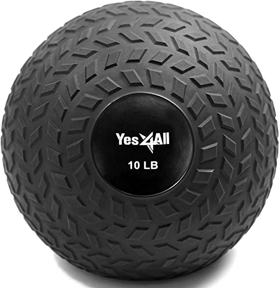 Yes4All Slam Balls (Black, Blue, Teal, Orange & Glossy) 10-40lbs for Strength and Crossfit Workout – Slam Medicine Ball