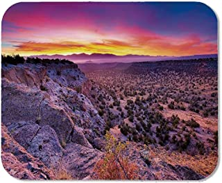 Nature Decor Personalized Mouse Pad,Surreal Sunrise Sky Horizon Over Mountain Valley National Monument Dusk Print for Work Game,11