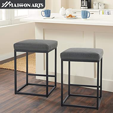 """MAISON ARTS Counter Height 24"""" Bar Stools Set of 2 for Kitchen Counter Backless Industrial Stool Modern Upholstered Barst"""