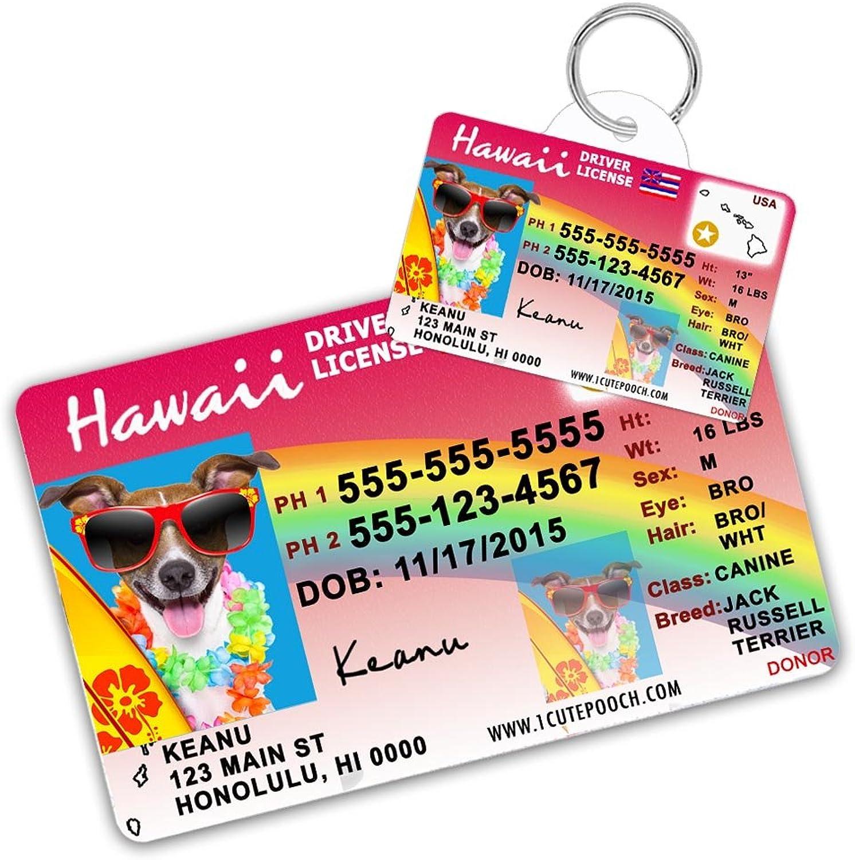 Hawaii Driver Licenza Personalizzata Dog Tag per animali e carta Wallet Personalizzato Pet ID Tag Dog per cani tag Dog Personalizzato Dog ID Tag Cat ID Tags Pet ID Tags per gatti