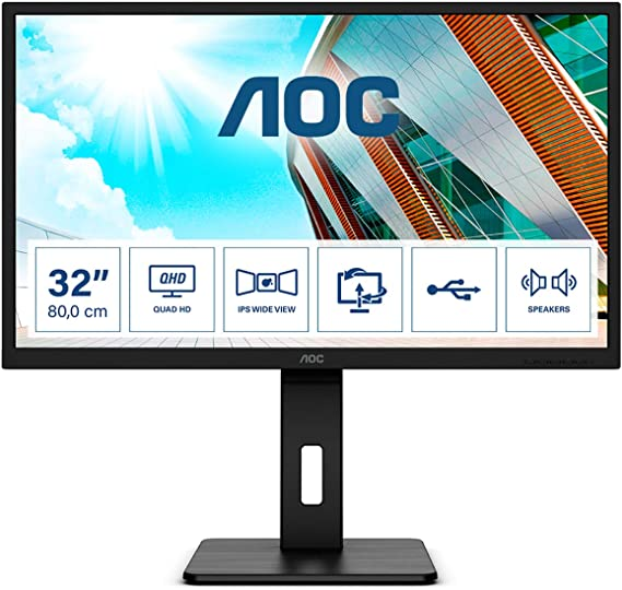 AOC Q32P2-32 Inch QHD Monitor, 75Hz, 4ms, IPS, USB Hub, Height Adjust, Free, Speakers (2560x1440 @ 75Hz, 250cd/m², HDMI 1.4 x 2 / DP 1.2 x 1 / USB 3.2 x 4)