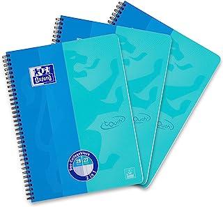 Oxford DUO Collegeblock, 3er Pack, DIN A4, kariert und liniert kombiniert, blau