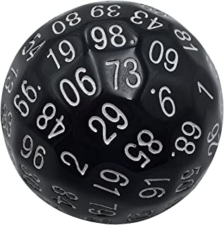 Skull Splitter Dice Single 100 Sided Polyhedral Dice (D100) | Solid Black Color with White Numbering (45mm) by Skull Splitter Dice