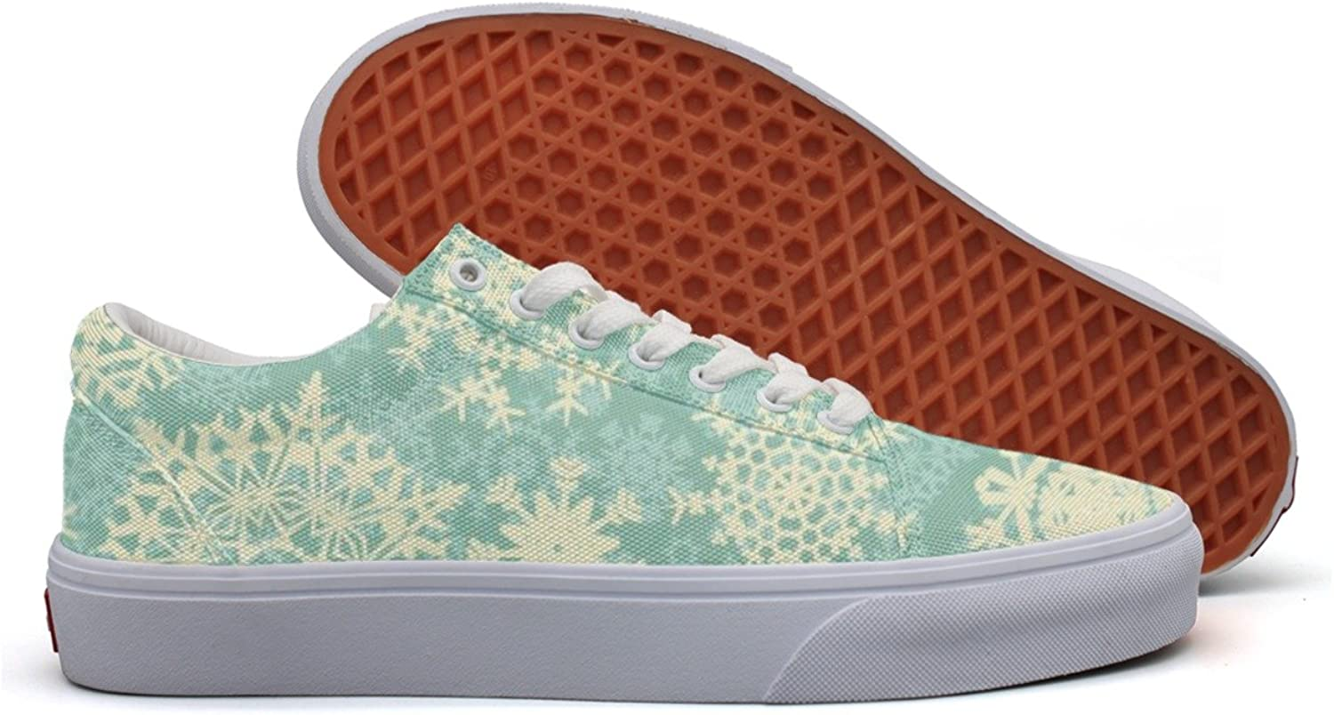 Christmas Snowflake Womens Printed Canvas Tennis shoes Low Top Best Sneakers For Women's