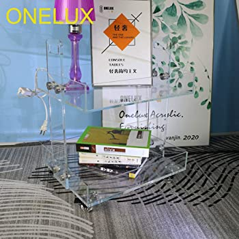 (Flat Packed) ONELUX Original Acrylic Side Table,Clear Table with Wheels,Acrylic Bedside Tables/Night Stand - 41×34×48H cm