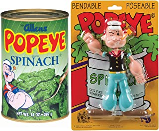 with Spinach! Popeye The Sailor Figure That's Bendable Blow me Down + 1 Can Official Popeye Spinach! 2 Items