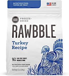 BIXBI Rawbble Freeze Dried Dog Food, Turkey Recipe, 12 oz - 96% Meat and Organs, No Fillers - Pantry-Friendly Raw Dog Food for Meal, Treat or Food Topper - USA Made in Small Batches