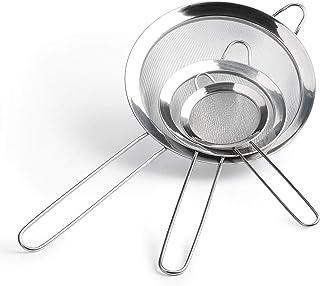 Coladores de malla fina premium – acero inoxidable para cocina, coladores con asas – Juego de 3 para hornear y cocinar, harina, quinoa, té, zumo, olla caliente y mucho más