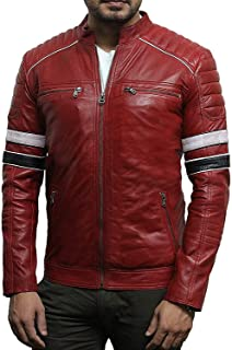 Brandlock Mens Genuine Leather Biker Jacket Lamb Nappa Bomber