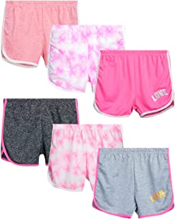 Girls' Active Shorts - 6 Pack French Terry Athletic...