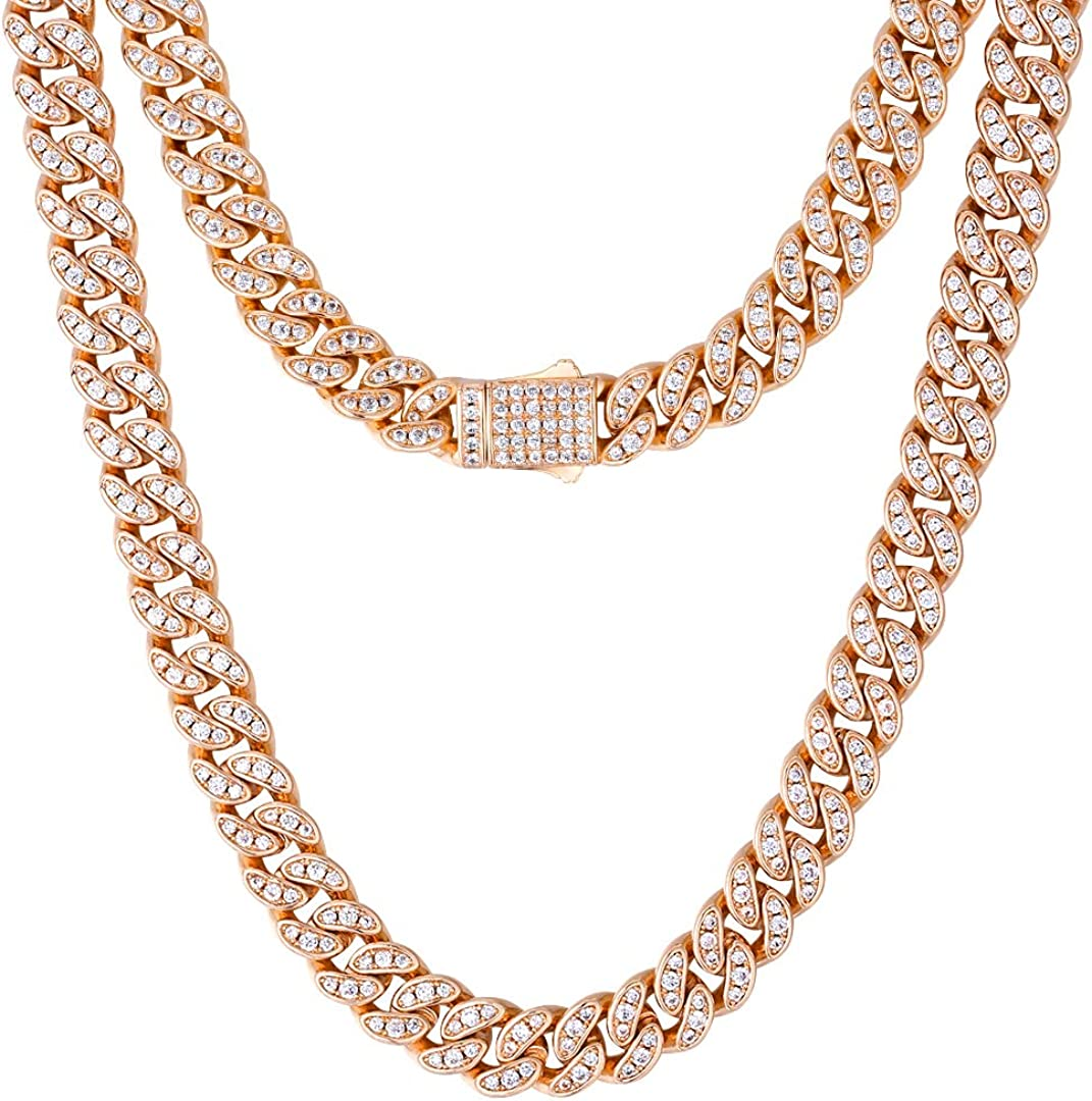 KRKC&CO 8mm Iced Out Cuban Link Chain, 14k Gold Cuban Choker, Cuban Chains for Women, Prong-Setting 5A Cubic Zirconia Stones Necklace, Hip Hop Jewelry 16 18 20 22 Inches