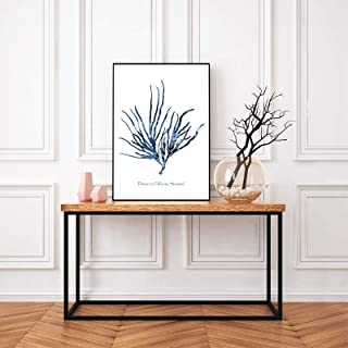 Canvas Wall Art Prints Painting Hamptons Sea Coral Posters Coastal Beach Nautical Art color Blue Pictures for Home Decor-3...