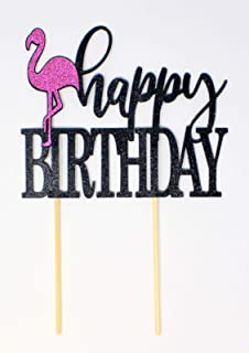 All About Details Flamingo Theme Happy, 1PC, Cake Topper, Birthday, Summer Party, Photo Props (Black & Pink), 6 x 9, Blac...