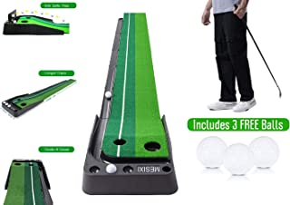 MESIXI Indoor/Outdoor Golf Putting Green Mat Portable Baffle Plate Auto Ball Return System Mini Golf Practice Training Aid Equipment Game and Golf Gifts for Men Home Office Outdoor Use