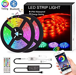 Bluetooth LED Strip Lights Music Sync, 32.8FT/10M Waterproof RGB LED Light Strips for Bedroom 5050 300LEDs Color Changing Neon Lights APP Controlled Dimmable Tape Lights for TV, Bedroom,Party and Home