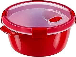 Curver - hermético Smart Micro Vaporera Redonda 1,6L. - Apto para Microondas - Con Rejilla para Cocinar al Vapor - Descongelar y Recalentar - Color Rojo