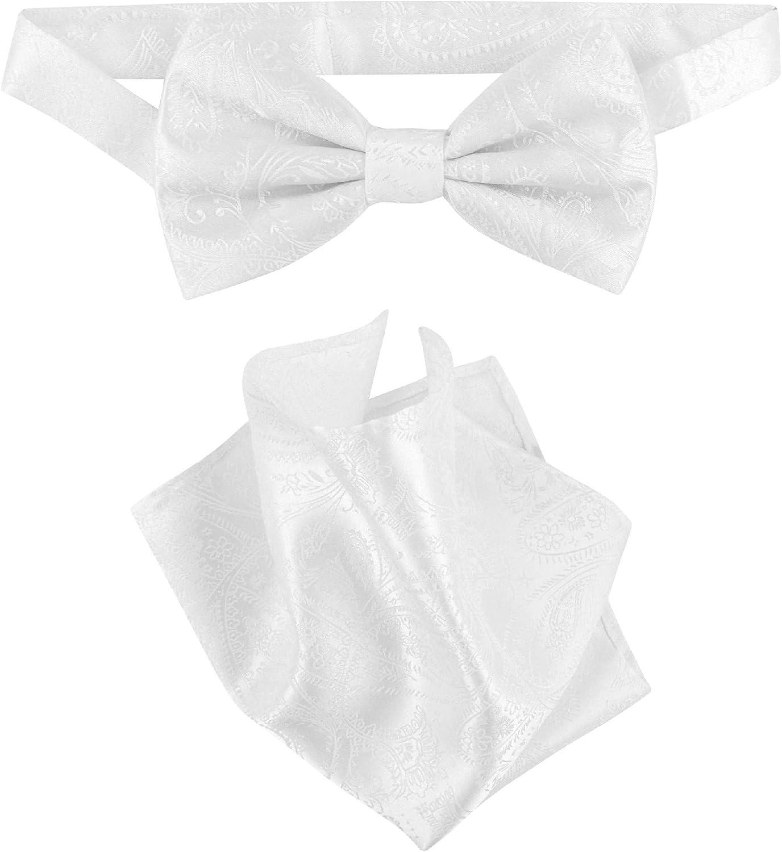 Vesuvio Napoli BowTie White Paisley Color Mens Bow Tie & Handkerchief