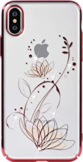 Devia iPhone X Case with Swarovski Crystals | Premium PC Material | Shock Resistance | Slim & Transparent | Wireless Charger Compatible | Ideal for Women, Girls | Crystal Lotus Cover | 5.8 inch (Red)