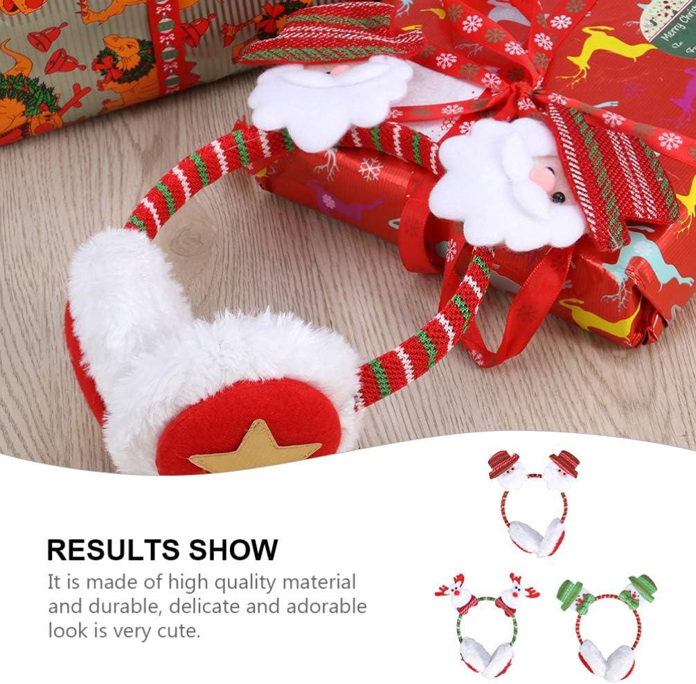 NUOBESTY 3Pcs Christmas Earmuffs Cartoon Santa Snowman EIK Faux Fur Ear Muffs Ear Warmers Fleece Winter Ear Muffs Covers