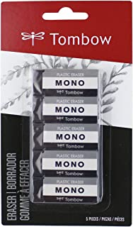 Tombow 57327 MONO Black Eraser, Small, 5-Pack. Cleanly Removes Marks Without Damaging Paper