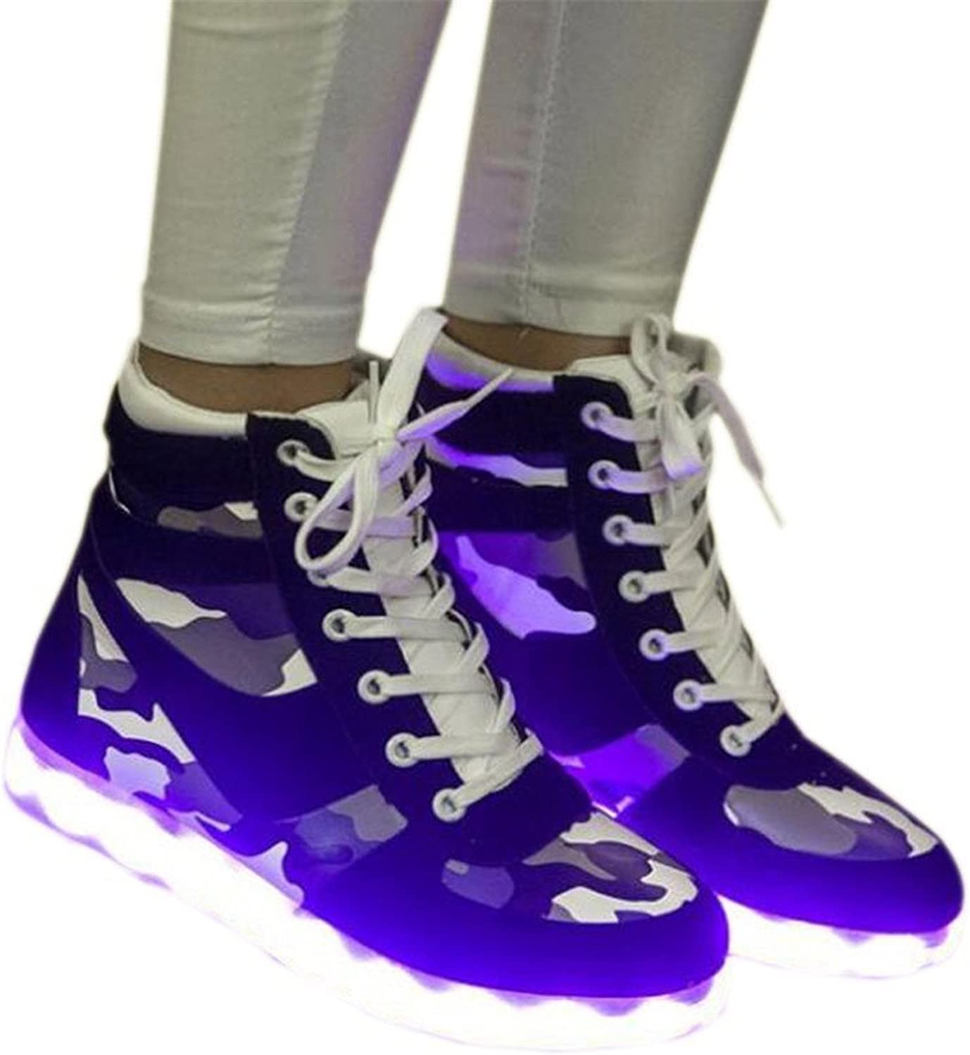 Uerescha 7 colors LED light shoes High Top Sports Fashion Sneakers for women Light Up shoes with led